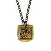 "Gold Metal OM Pendant with Brown with 22"" Bronze Necklace"