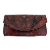 Women's Brown Leather Wallet Checkbook Style with Embossed Cross and Fleur de Lis