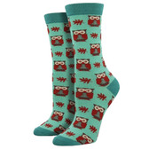 Women's Bamboo Crew Socks Woodland Owls Mist Green