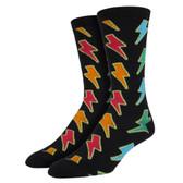 Men's Crew Socks Lightning Bolts Black