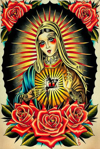 Faith Mary by Tyler Bredeweg Canvas Giclee Tattooed Virgin