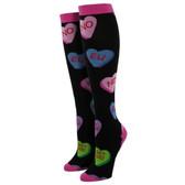 Women's Knee High Socks Valentine Sweet Tart Hearts Black