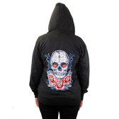 Light Weight Black Zipper Hoodie Sweatshirt Sugar Skull and Roses