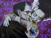 Undying Love by Mike Bell Canvas Giclee Art Print Bride of Frankenstein Monster