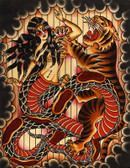 Naga & Tiger by Brother Greg Canvas Giclee Art Print American Traditional Cobra Beauty