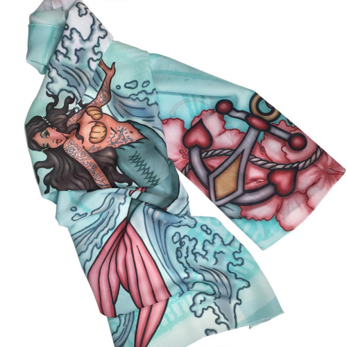 Tattoo Mermaid Nautical Ocean Fashion Scarf