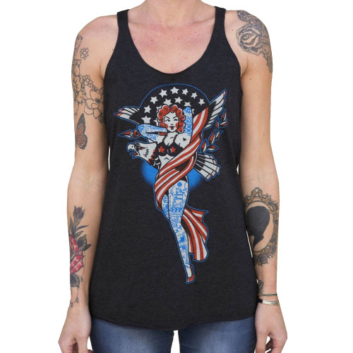 Womens Liberty by Adi Unfinished Tank Top Tattooed American Pin Up Girl