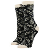 Women's Bamboo Crew Socks Brocade Black and Off White