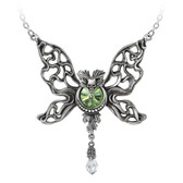 Alchemy Gothic Le Phantom Vert Skull Butterfly Pendant Necklace Pewter Jewelry P794