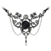 Alchemy Gothic Mesukmus Cherub Angels Black Rose Pendant Necklace Pewter Jewelry P795