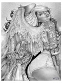 Angel Girl by Jamie Mouse Lopez Fine Tattoo Art Print Black and White