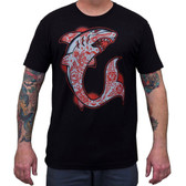 Shark by Adi Men's Black Tattoo Tee Shirt Tattooed Ocean Predator
