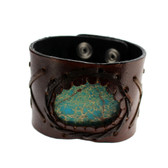 Thick Brown Leather Cuff Bracelet Wristband with Blue Jasper Stone