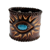 Thick Brown Leather Cuff Bracelet Wristband with Blue Howlite Stone