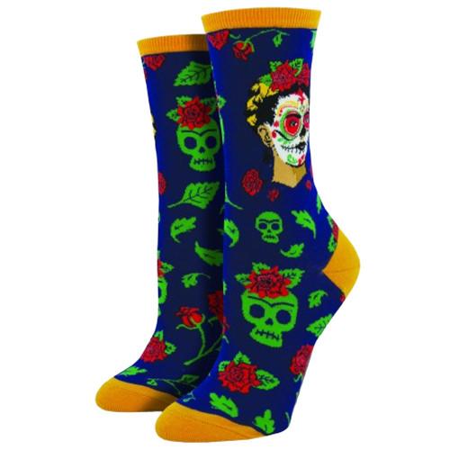 Women's Crew Socks Day of the Dead Frida Sugar Skull Navy Blue