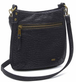 Medium Black and Silver The Anna Crossbody Purse Faux Leather Stonewashed Bag