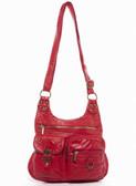 Medium Red The Aria Crossbody Purse Faux Leather Stonewashed Bag
