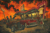 Saturday Night at the Drive In Dead by P'gosh Zombie Monsters Tattoo Art Print