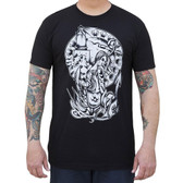 The Shore Always Waits by Chris Allen Men's Black Tattoo Tee Shirt Nautical Mermaid