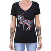 Carousel Horse by Adi Women's Tattoo Art Tee Shirt Merry Go Round Pony