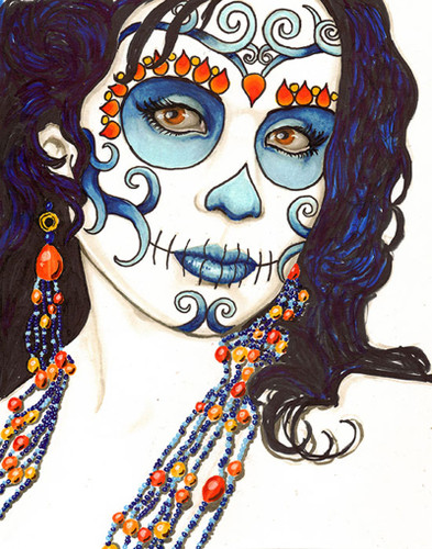 Parfum by Shayne of the Dead Bohner Tattoo Art Canvas Giclee Sugar Skull Mask