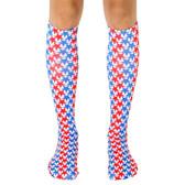 Men's or Women's Knee High Socks USA Stars Red White and Blue
