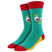Men's Crew Socks Gumby Iconic Clay Animation Character Green