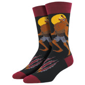 Men's Crew Socks Howling At The Moon Werewolf Black