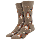 Men's Crew Socks Nothing But A Hound Dog Basset Hounds Puppy Brown