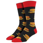 Men's Crew Socks Good Burgers Hamburger Black