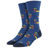 Men's Crew Socks Sitting Ducks Drakes Decoy Navy Blue