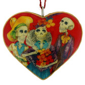 Skelton Trio Heart Holiday Ornament Day of the Dead Chicano Metal Sugar Skull