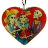 Skelton Trio Heart Holiday Ornament Day of the Dead Chicano Metal Sugar Skull
