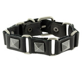 Black leather bracelet with metal pyramid studs.