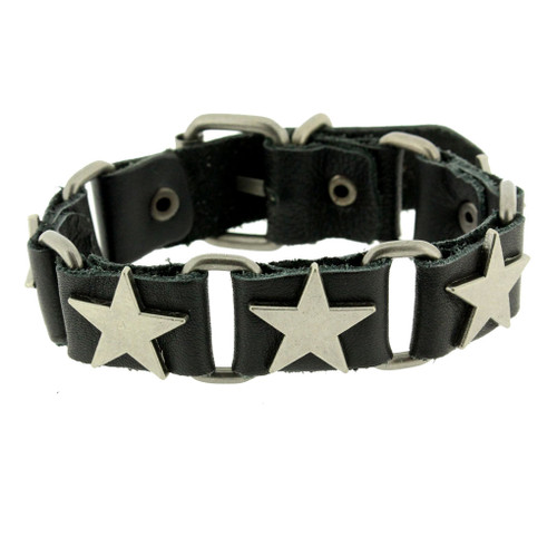 Leather bracelet with metal star emblems.