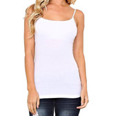 Women's White Camisole Tank Top Shirt Cotton Blend Layering Tee