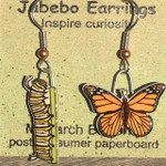 Monarch Butterfly and Caterpillar Earrings 425