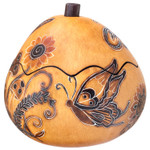 Whimsy Butterflies Small Carved Gourd Box