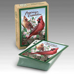 "Our Playing Cards are poker-sized decks with standard playing card faces and a full-color wildlife illustration on the back of each card. Interesting wildlife information is featured on the back of each deck's box.  Features the Quote: ""There is a rhythm in nature that can be felt through the songs of birds, the rustling of trees, and water trickling over rocks."""