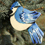 Handmade Ceramic Blue Jay Christmas Tree Ornament