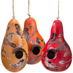 Hand-carved Gourd Bird House with North American Birds