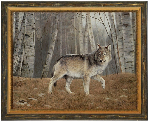 Charles Frace 'Watchful' Grey Wolf Canvas Framed A/P Signed & Numbered