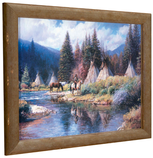 Martin Grelle 'Camp Along the River' Indian Tipis Canvas Framed L/E Signed & Numbered