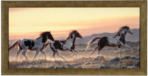 Nancy Glazier 'Early Morning Run' Horses Canvas Framed L/E Signed & Numbered
