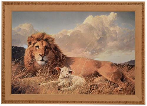 Nancy Glazier 'Peace & Harmony' Lion & Lamb Canvas Framed O/E