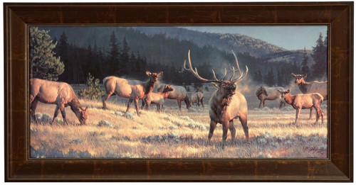 Nancy Glazier 'Rocky Mountain Meadow' Elk Canvas Framed Limited Edition S/N