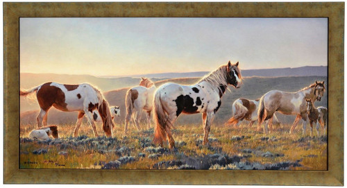 Nancy Glazier 'Welcome the Dawn' Horses Canvas Framed L/E Signed and Numbered