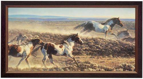 Nancy Glazier 'Unbridled Spirit' Horses Canvas Framed Signed & Numbered L/E