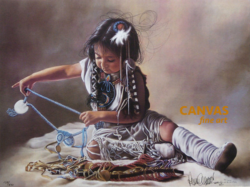 Penni Anne Cross 'Sorting Her Beads' Native American Canvas Art Signed & Numbered L/E