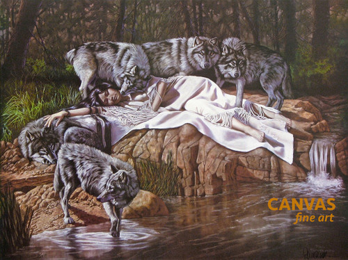 Penni Anne Cross 'DII-TAH aka The Princess & Her Wolves' Canvas Art Signed & Numbered L/E